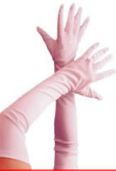 Gloves, Long White Jersey Fabric (1 Pair)
