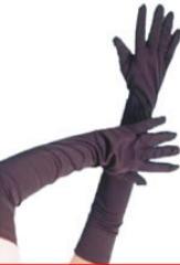 Gloves, Long Black Jersey Fabric