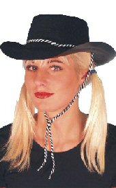 Cowboy Flocked Black Hat