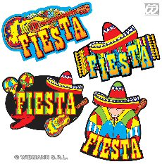 Mexican Party 'Fiesta' Decorations Set Of 4 Cardboard CutOuts (1)