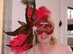 Feathered Mask Red Sequin With Full Plume Of Feathers Inclu Ostrich