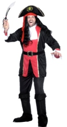 Pirate Captain Costume, Large, Tunic, Trousers (Qty per unit: 1)