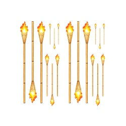 Tiki Torch Props (18 In A Pack)