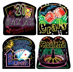 Neon Casino Sign Cutouts (4 in a pack)