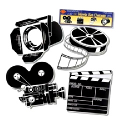 Black and White Movie Set Cutouts