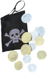 Black Pirate Coin Bag With Coins