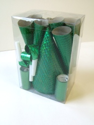 Party Pack For 24 People Green Holographic. Packed in see through Box.