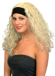 Superstar Wig,Blonde With Headband,Curly   (1)