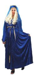 Medievil Lady Deluxe Costume Blue Velvet, Size 10-14 Plus Full extras