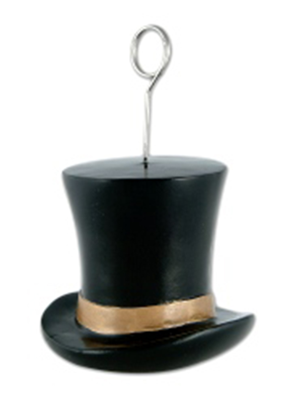 Balloon Weight/Photo Holder Top Hat Black And Gold