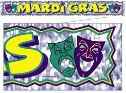 Mardi Gras Banner Metallic Fringe