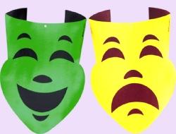 Mardi Gras Comedy & Tragedy Large Cutouts Gold & Green 2 pk