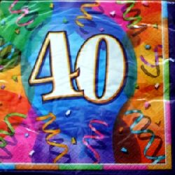 40th Brilliant Birthday  Party Napkins