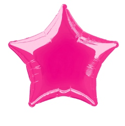"Foil Balloon Solid Metallic Hot Pink Star 20"" (Requires Helium)"