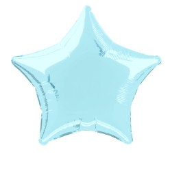 Foil Balloon Star Solid Metallic Baby Blue