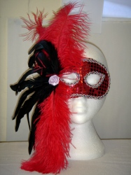 Red Sequin Eyemask With Red And Black Feathers. (1)