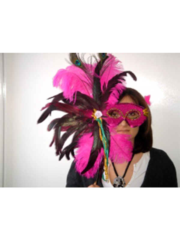 Exotic Pink Feather Mask On A Stick. (1)