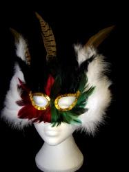 Multi Coloured Feathered Mask (1)