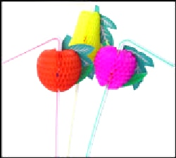 Straws Luau Fruit Honeycomb Straws (100 pcs per Box)