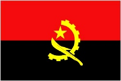 Angolan Flag 5ft x 3ft  With Eyelets For Hanging