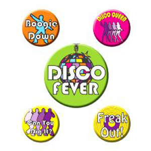 Disco Badges 5 badges with different designs