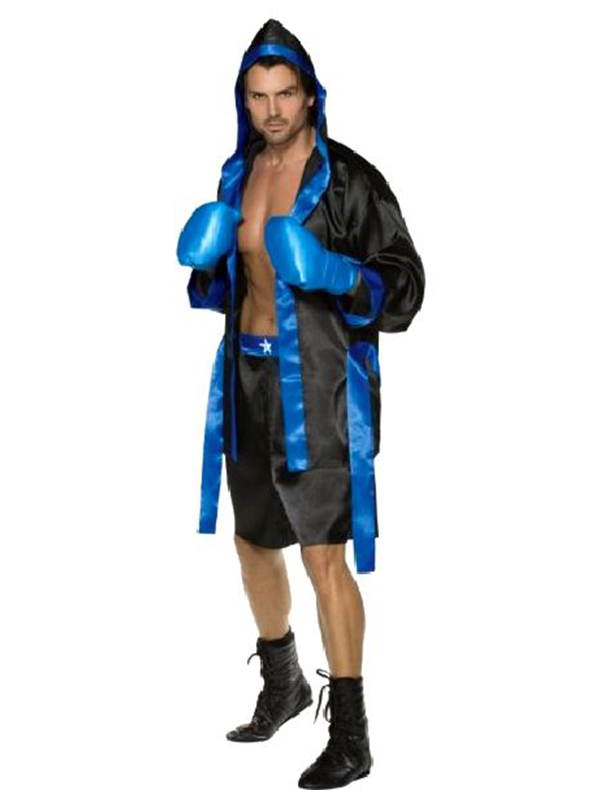 Down For The Count With Robe, Belt, Shorts And Boxing Gloves