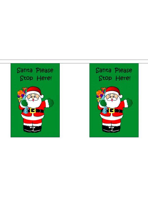 Santa Stops Here Flag Bunting Rectangular Flags 9m long 32 flags