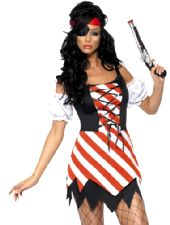 Fever Pirate Costume With Dress, Sleeves, Eye Patch And Scarf