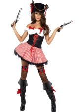 Fever Pirate Costume, Includes Dress With Lace-Up Corset