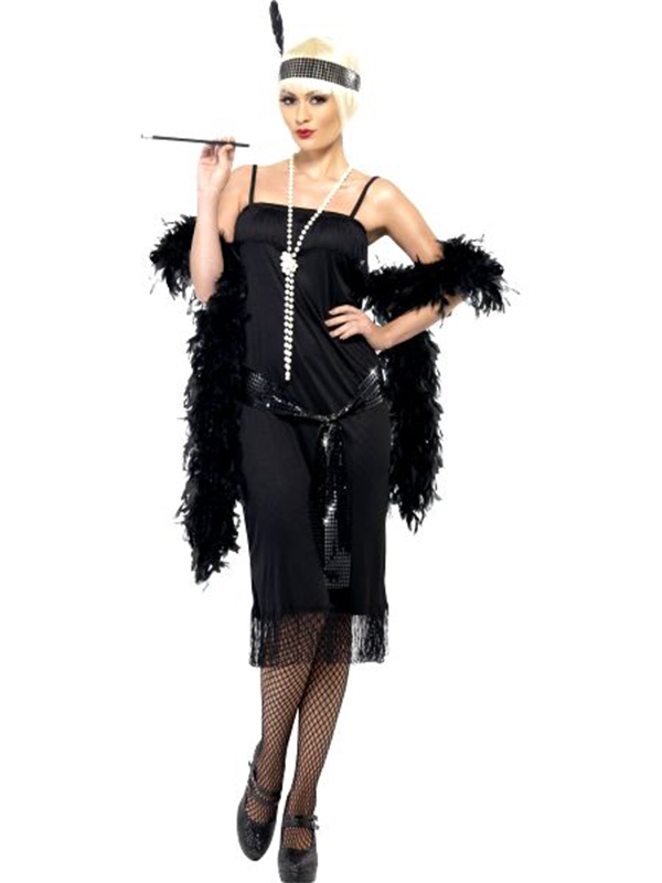 20's Flapper Gangster Dress Includes Sash And Headpiece