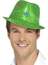 Flashing Sequin Gangster Hat - Green