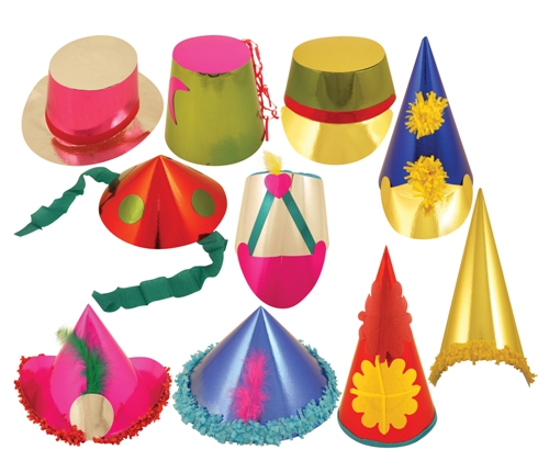 Large Foilboard Assorted Hats -50