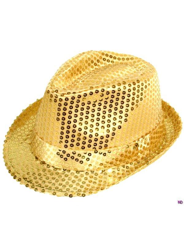 Sequin Gangster Hat - Gold