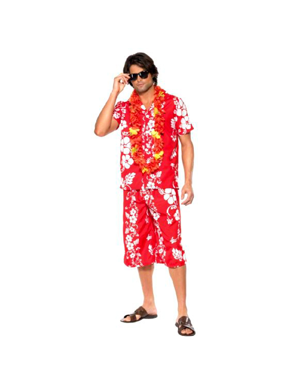 Hawaiian Hunk Costume - Red And White  - Medium 12345