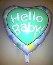 """Large Foil Balloon 'HELLO BABY' Heart 36"""" (Requires Helium)"""