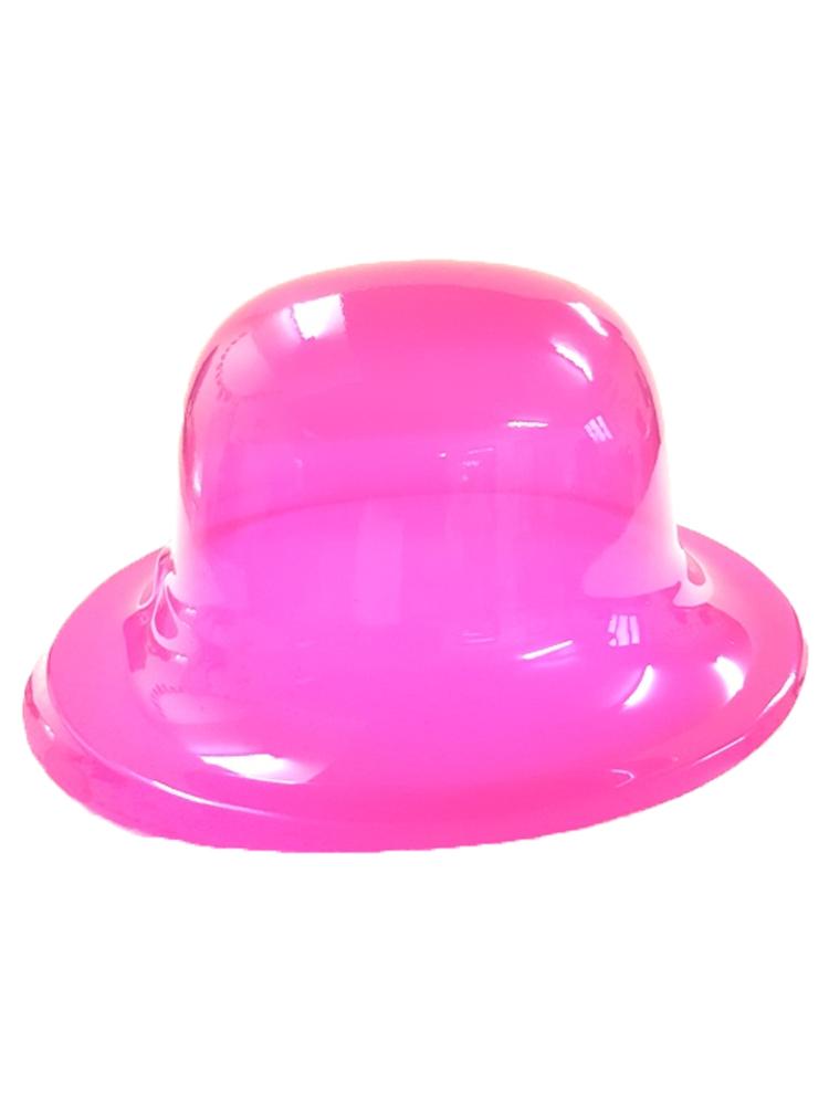 Hot Pink Plastic Bowler Hat