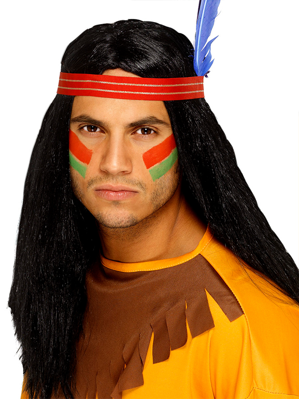 Indian Brave Wig Headband With Feather (1)