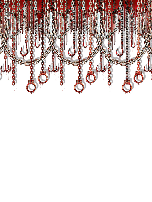 Bloody Chains & Hooks Backdrop 4' x 30'
