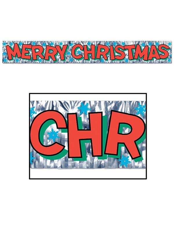 "Metallic Merry Christmas Fringe Banner 8"" x 5'"
