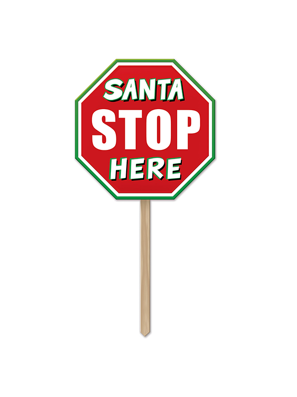 "Plastic Santa Stop Here Yard Sign 12½"" x 12½"""