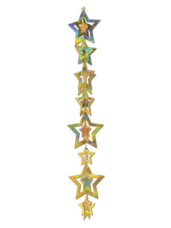3-D Prismatic Star Gleam Hanging Garland