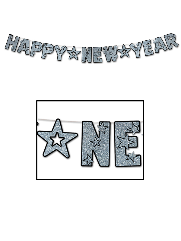Glittered Happy New Year Banner - Silver & Black