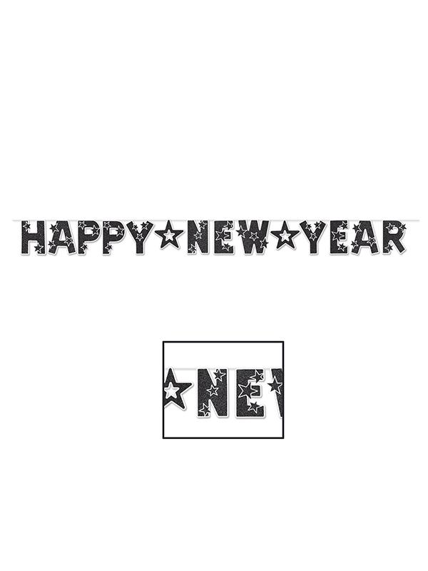 Glittered Happy New Year Banner - Black & White