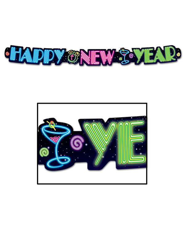 Neon Happy New Year Banner