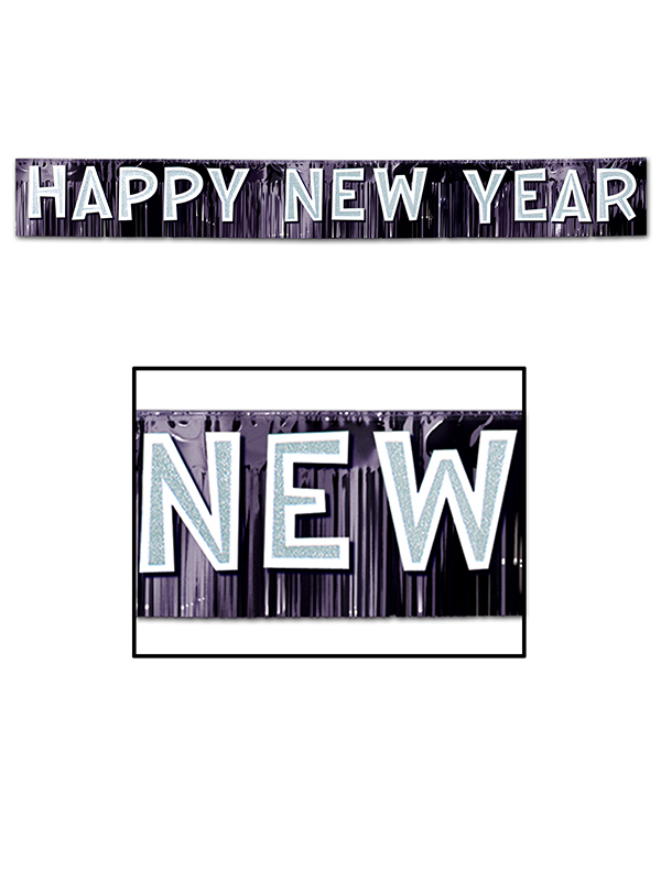 Metallic Happy New Year Banner - Black & Silver