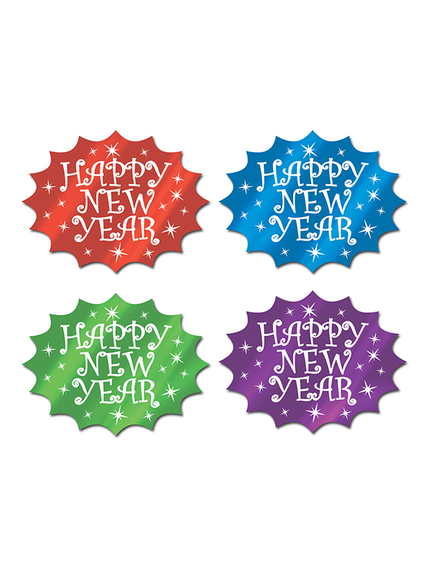 Assorted Colour Foil Happy New Year Cutout - Assorted Colours