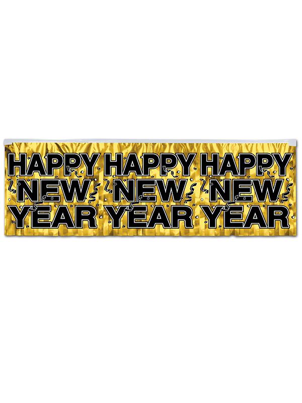 Metallic Happy New Year Fringe Banner - Gold