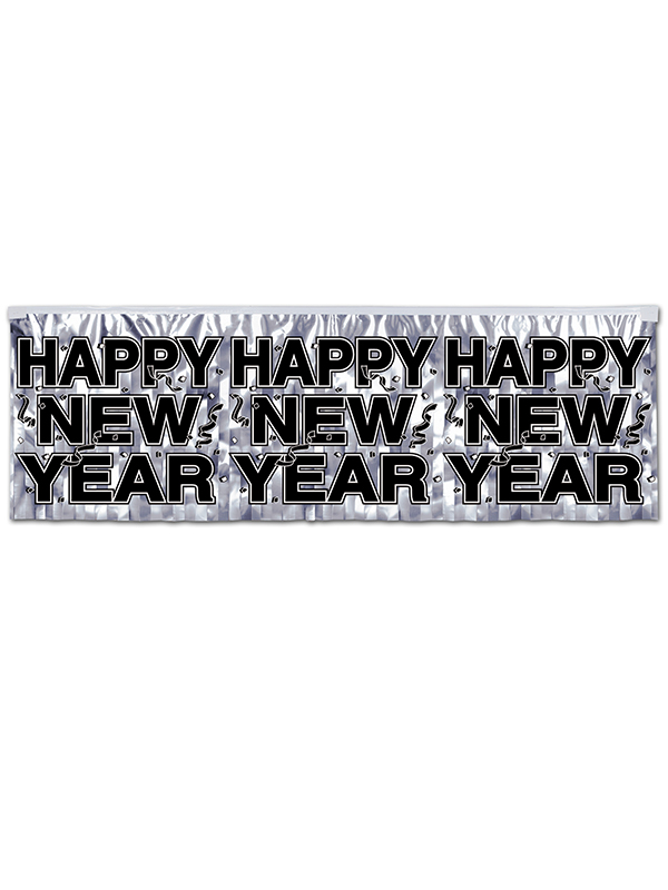 Metallic Happy New Year Fringe Banner - Silver
