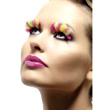 Feather Eyelashes - Neon Multi Coloured - Contains Glue