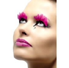 Feather Eyelashes - Neon Pink - Contains Glue